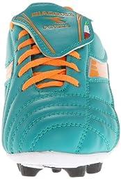 Diadora Soccer Forza MD JR Youth Soccer Shoe (Toddler/Little Kid/Big Kid),Aqua/Tangerine,6.5 M US Big Kid
