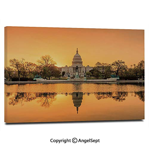 Wall Art Decor High Definition Washington DC American Capital City White House Above The Lake Landscape Painting Home Decoration Living Room Bedroom Background,16
