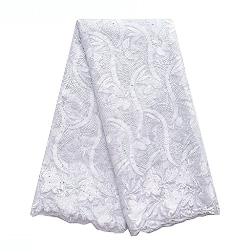 (WorthSJLH Purple Lace Fabric 5 Yards Gold Net African Lace Fabric Materials Women Wedding French Nigerian Lace with Beads LF842 (White))
