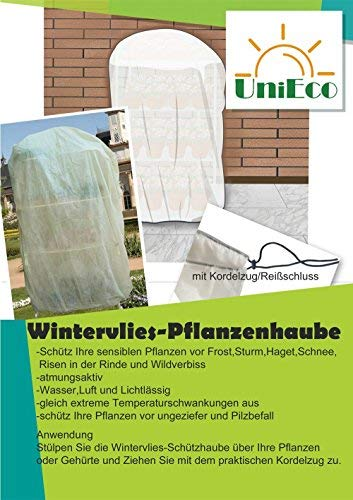 UniEco 365x275cm 50g / m² Winter protection for plants Container plant bag Frost protection cover Frost protection fleece beige super Strong with drawstring