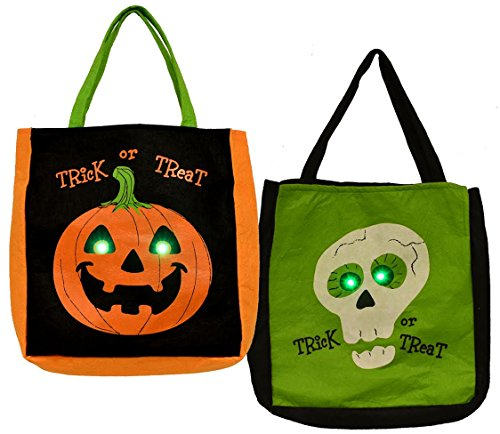 LED Halloween Trick or Treat Bags - 2 pack - Pumpkin and Skeleton