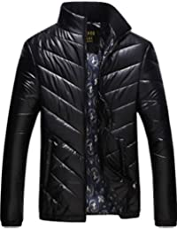 S&S Men's Stand Collar Full Zip Printed Lining Herringbone Quilted Bubble Jacket