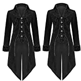 Fashion Mens Tailcoat Retro Court Jacket Goth Steampunk Solid Uniform Costume Praty Outwear Coat (Black, L)