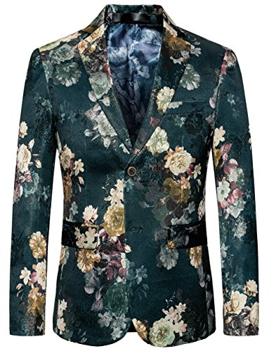 MOGU Mens Casual Rose Floral Blazer Slim Fit Jacket Dark Green Fashion Sport Coats US Size 36 (Asian Label Size - Green Sport
