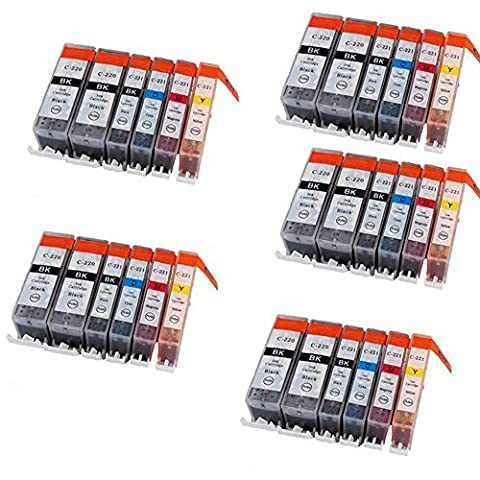 HOTCOLOR(TM) 30-PK Canon PGi-220 10-Black and Cli-221 20-Color Value Pack (Cannon Pixma Mp560 Ink)