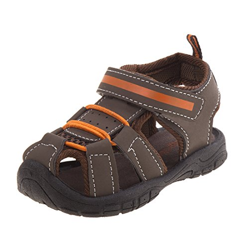 Rugged Bear Boy\'s Fisherman Mesh Sandal, Brown/Orange, 1 M US Little Kid'