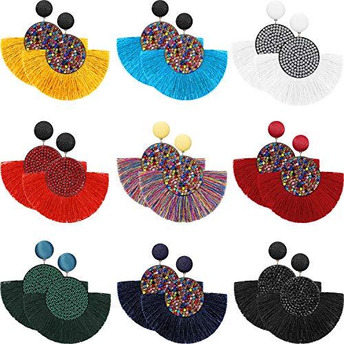 9 Pairs Tassel Hoop Earrings Bohemia Fan Shape Drop Earrings Dangle Hook Eardrop for Women Girls Party Bohemia Dress Accessory (Multicolor E)