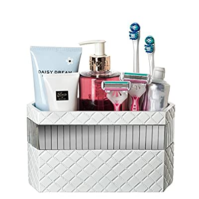 Makeup Brush Holder, Quilted Mirror Bathroom Organizer Countertop, Decorative Bathroom Counter/Vanity Organizer, 3 Slot Cosmetic Brushes Caddy/Hair Accessories Storage, Gift Packaged (White) - ORGANIZE YOUR BATH - Accessory bin has 3 slots for sink countertop, under cabinet or closet storage BEAUTIFUL PORCELAIN - Modern quilted inlaid mirror design makes the best personal organization box TOILETRY OR MEDICINE CADDY - Organize razors, small lotions, makeup, hair brush or other products - organizers, bathroom-accessories, bathroom - 51YKF3RhQzL. SS400  -