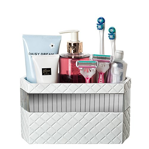 51YKF3RhQzL - Makeup Brush Holder, Quilted Mirror Bathroom Organizer Countertop, Decorative Bathroom Counter/ Vanity Organizer, 3 Slot Cosmetic Brushes Caddy/ Hair Accessories Storage, Gift Packaged (White)