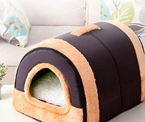 Sun Glower Coperta delle forniture dell'animale Doppio uso morbido caldo canile rimovibile 2 in 1 cane gatto casa letto con tappetino Marroneee S  34  29  26CM