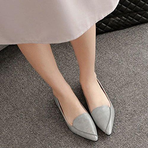 Giy Mocasines Con Punta Retro Para Mujer Ballet Comfort Flats Slip-on Classic Vestido Informal Mocasín Gris