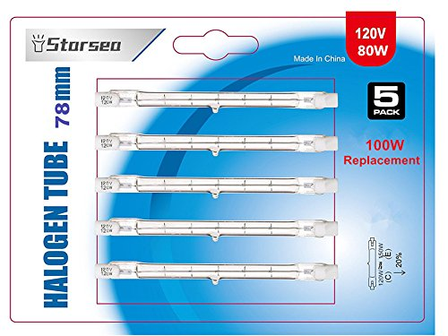 5Pack - 78mm J Type Double Ended T3 Halogen Light Bulbs, 120 Watt 80 Volt (100 Watt Halogen Bulb Replacement), Energy-Saving 20%
