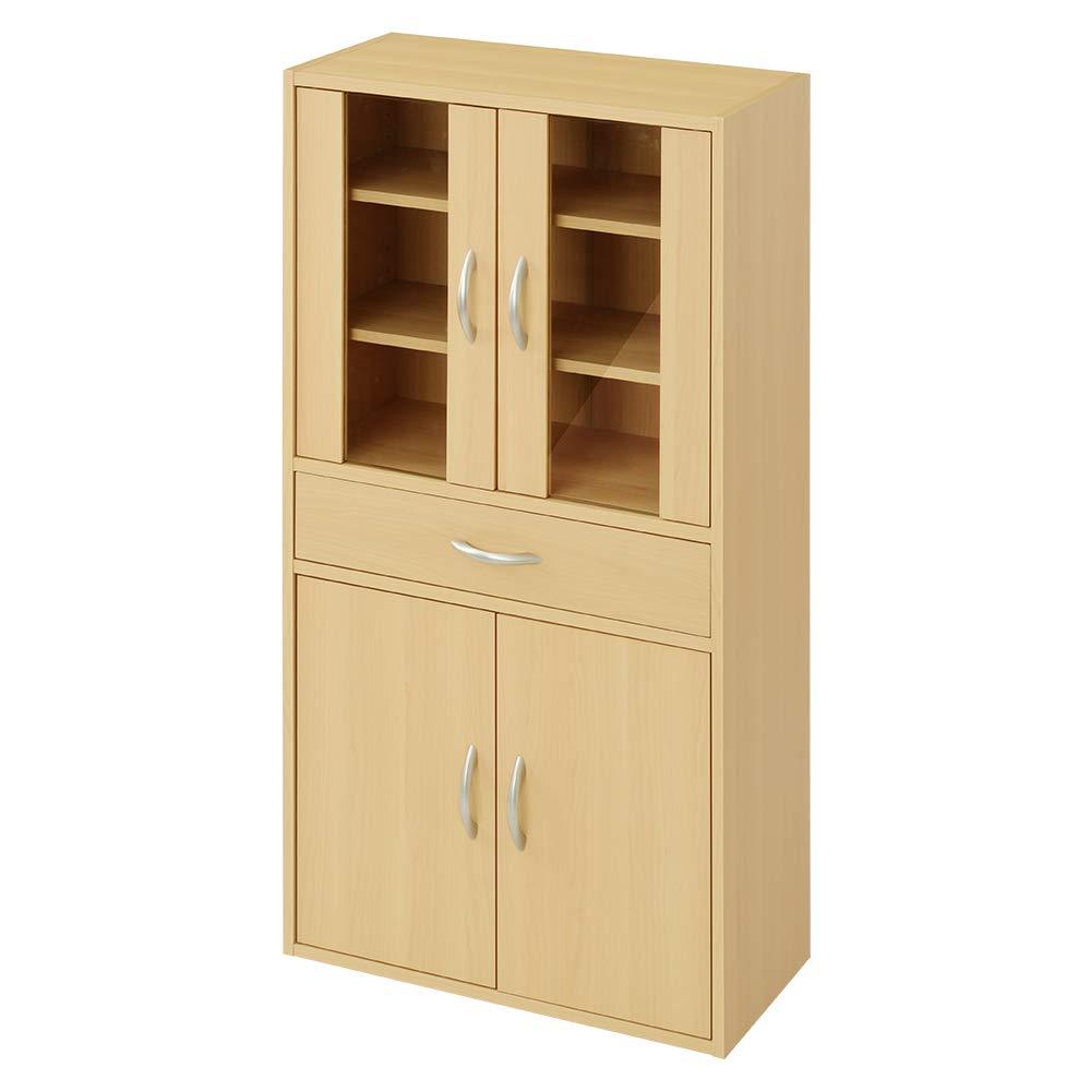 ぼん家具 【完成品組立不要】 食器棚 キッチン収納 棚 ガラス扉 キャビネット 幅60cm 高さ120cm 木製 ナチュラル 完成品 ナチュラル B079ZSDH95