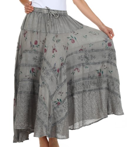 Sakkas 02311 Moon Dance Gypsy Boho Skirt - Charcoal - One Size