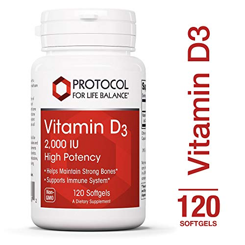 Protocol For Life Balance - Vitamin D3 2,000 IU - High Potency - Supports Calcium Absorption, Bone and Dental Health, Immune System Function, Nervous System, Cognitive Function - 120 Softgels