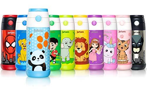 Jarlson Botella Agua sin bpa ninos | Botellas Agua Acero Inoxidable - termica | a Prueba de Fugas | para la Escuela y Deportes | el Termo | 350 ml