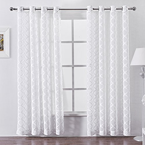 DWCN Sheer Curtains White Moroccan Grommet Window Curtain Three-dimensional Lattice Faux Linen Semi Transparent Voile for Bedroom Living Room 52x84 Inch Long Set of 2 Panels