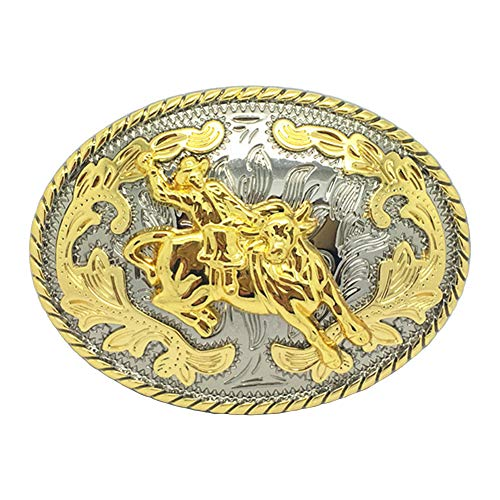 Western Cowboy Bull Belt Buckle, Gold Tone Oval Rodeo Bullfighting Belt Buckles for Men Women ()