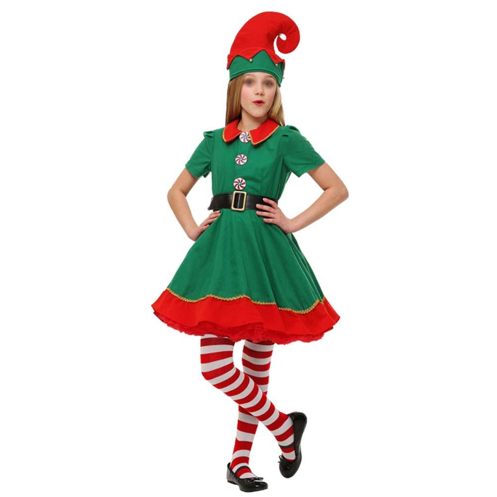 BESTOYARD Conjunto de Disfraces de Navidad Elfo Verde Ropa de diseño Traje de Cosplay Vestido de tutú Romper Conjunto de Trajes - Tamaño 150 CM (Verde) K3EPNGA1197DK9JUI52YXTCU