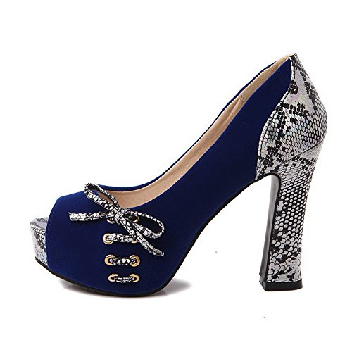 Darkblue Spun Cobra BalaMasa Imitated Platform Pumps Bowknot Leather Gold Shoes Womens vExOROqA