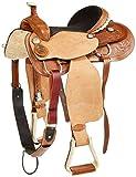 """Tahoe Dakota Western Roping Saddle, 15.5"""", Light Brown"""