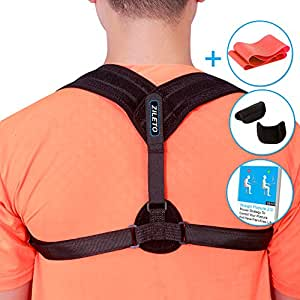 "Zileto Premium Posture Corrector, Posture Brace, Back Brace For Women Men | Shoulder Support Clavicle Brace |Adjustable Straps |Improve, Fix Posture, Stop Hunchback |Free Ebook (Small:26""-34"" Chest)"