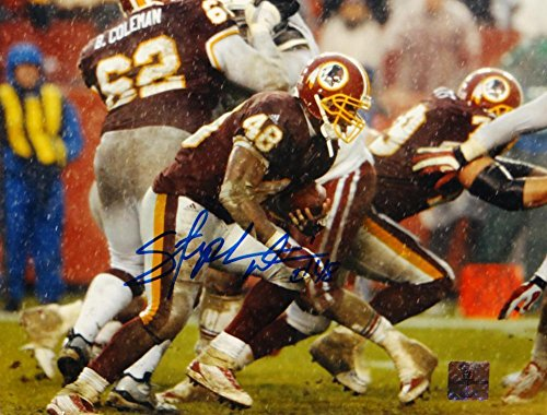 (Stephen Davis Autographed Photo - 8x10 Running The Jersey Source Auth - Autographed NFL Photos)