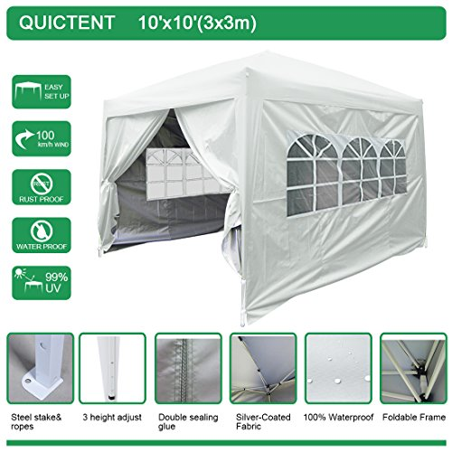 Commercial High Peak Canopy (Quictent Silvox 10x10 EZ Pop Up Party Tent Canopy Multifunctional tent Camping tent /Party tent/Commercial tent Gazebo 8.7 ft height 4 Walls W/ Free Carry Bag 100% Waterproof-7 Colors (SILVER2))