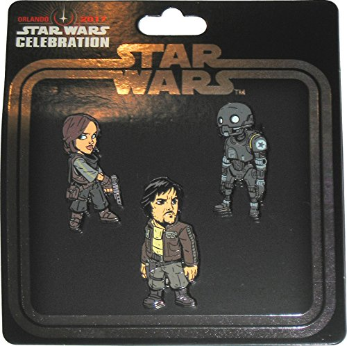 Star Wars Celebration 2017 Orlando Exclusive Rogue-1 Jyn Erso / Cassian Andor / K-2SO Set of 3 Enameled Metal Cloisonné Pins Enameled Cloisonne