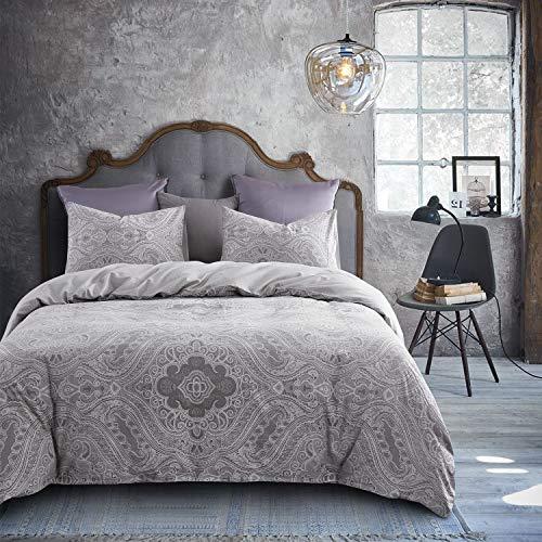 Wake In Cloud - Jacquard Duvet Cover Set, 100% Cotton Bedding, Gray Grey Damask Paisley Victorian European Paisley Pattern, Zipper Closure (3pcs, Queen Size) ()