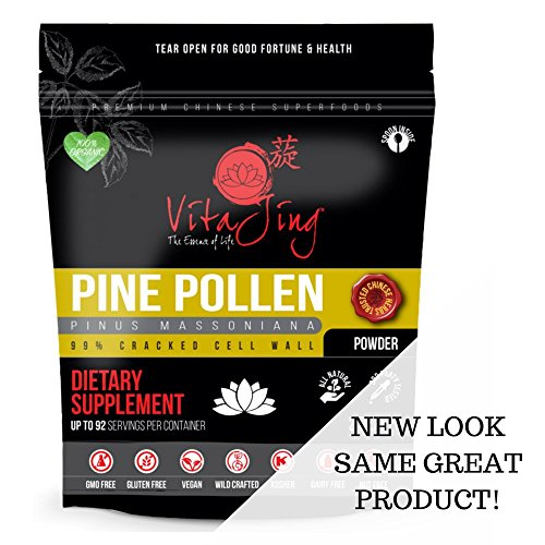 Organic Pine Pollen Powder Extract (8oz / 227gm) Raw Form, Pure Wild Harvested, 99 Percent Broken Cell Wall for Optimal Absorption and Potency (Up to 184 Servings) by VitaJing