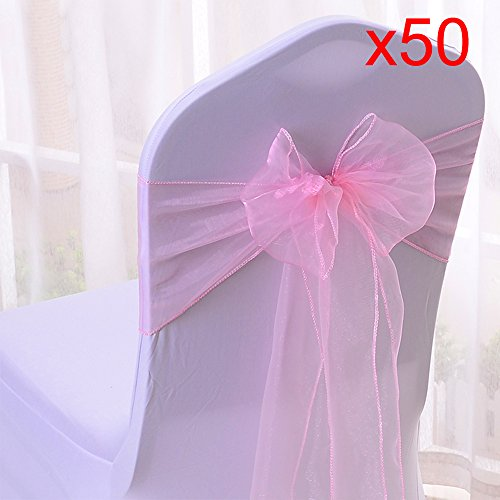 10/20/50/100pcs Organza Chair Sashes Bows Ribbons Covers for Wedding Supplies Events Party Reception Banquet Decoration Elegant 10 Colors(50PCS, Pink) from Boshen