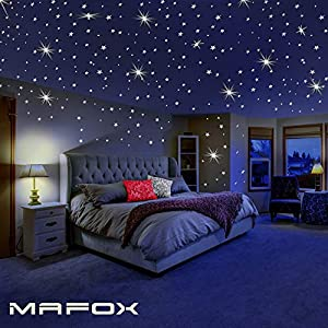 Glow in The Dark Stars for Ceiling or Wall Stickers – Glowing Wall Decals Stickers Room Decor Kit – Galaxy Glow Star Set and Solar System Decal for Kids Bedroom Decoration