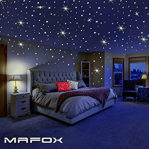 Glow in The Dark Stars for Ceiling or Wall Stickers - Glowing Wall Decals Stickers Room Decor Kit - Galaxy Glow Star Set and Solar System Decal for Kids Bedroom Decoration Ceiling Wall Baby Nursery Room
