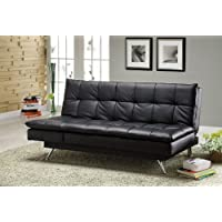 Furniture of America Brenshaw Leatherette Futon Sofa, Black Finish