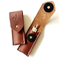 BROWN Leather Toothpick holder pocket travel case dispenser Made in USA. Toothpicks included! Great gift idea for Dad!
