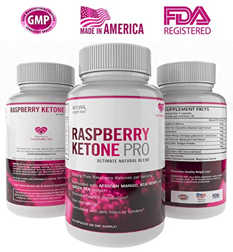 [Live Healthy You Pure Raspberry Ketones Pro 600mg with Green Tea, Acai Berry and African Mango Extract Dietary Supplement] (Slimquick Laboratories Weight Loss)