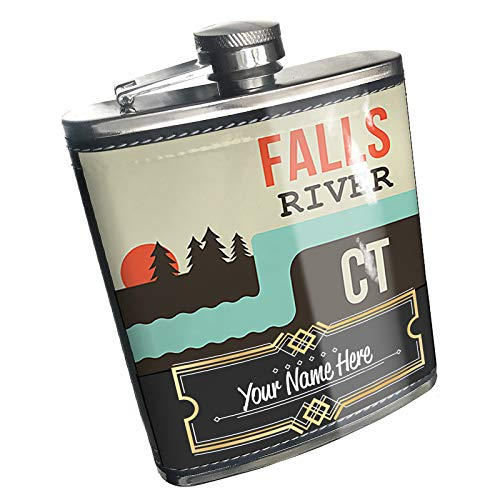 Neonblond Flask USA Rivers Falls River - Connecticut Custom Name Stainless Steel