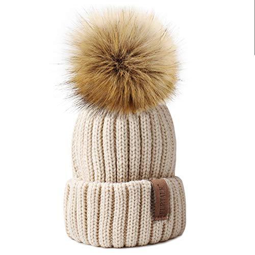 509c1a2b1e3c49 Kids Winter Knitted Pom Beanie Bobble Hat Faux Fur Ball Pom Pom Cap Unisex  Kids Beanie