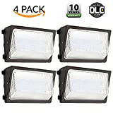 4 PACK - UL & DLC Listed- LED 80W Wall Pack DIMMABLE Outdoor Lighting, 5000K Cool White, 7,000 Lumens, 400 Watt Equivalency, HIGHEST Quality, Wall Light, Industrial, Commercial, Residential Light