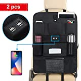 ROSI Kick Mats Car Seat Organizer for Kids,Waterproof Car Seat Protector, 8 Pocket Travel Accessories Large Size Storage Bag with 4 USB Charger for Family Road Trip Business Travel