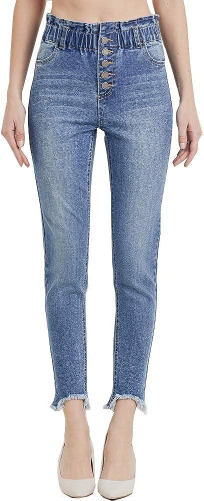Cest Toi Women's Denim Elastic Waist Band Stretch Soft Denim Skinny Jeans Button Down Ankle Skinny