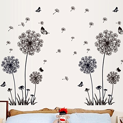 Cheap  Dandelion wall stickers transparent wall papers Black Flower wall murals creative Removable..