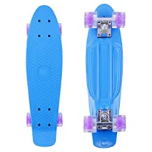 22-Inch Mini Banana Skate Board with Light - Retro Complete Skateboard Glow-in-the-Dark Cruiser - PHAT® (Blue)