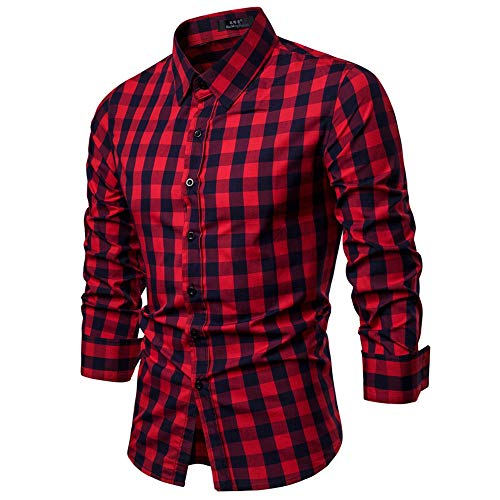 Boomboom Men Shirts, Mens Long Sleeve Oxford Formal Casual Slim Fit Tee Dress Plaid Shirts Blouse Top Red XL