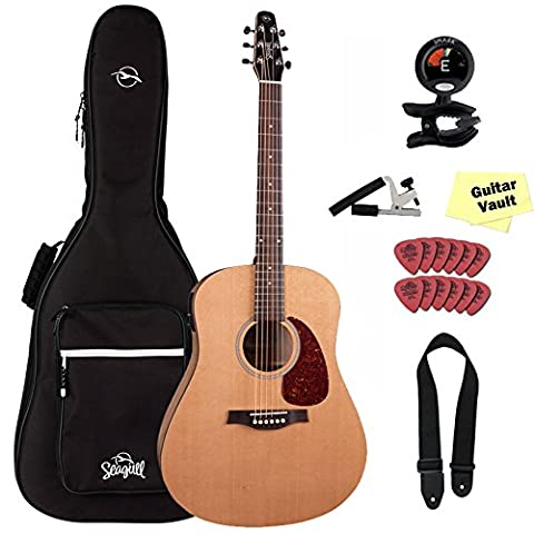 Seagull S6 Classic Dreadnought Acoustic-Electric Guitar Natural With B-Band M-450T, Seagull Gig Bag and GuitarVault Accessory (Acoustic Classic)