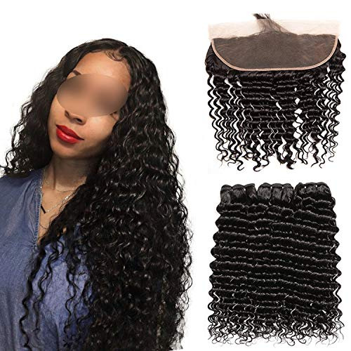 The rest of my life Deep Wave Bundles With Frontal 13x4 Lace Frontal With Brazilian Hair Weave Bundles Remy Human Hair Bundles With Frontal,22 22+20Closure,Natural Color,Middle Part ()