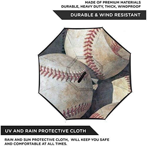 ビンテージ野球 ユニセックス二重層防水ストレート傘車逆折りたたみ傘C形ハンドル付き