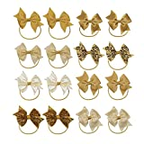 KOONY Baby Girls Hair Bows Elastic Ties Ponytail Holders Hair Bands 16pc (Gold)