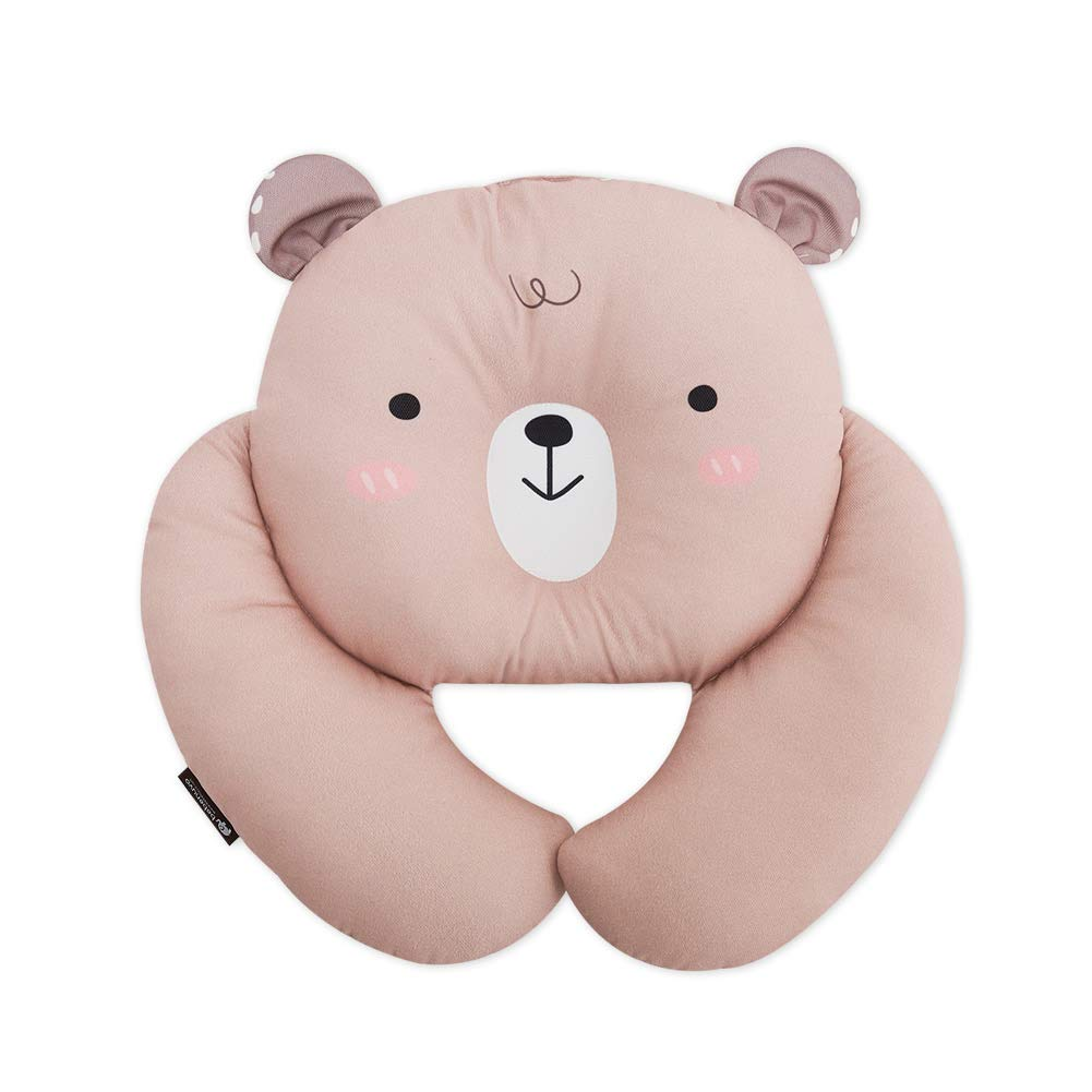 Bebenuvi Baby to Toddler Multi Stroll Neck Pillow Baby Travel Pillow Infant Newborn Head and Neck Support Pillow for Car Seat, Stroller, Airplane, Pushchair, Head Support, 14.9'' x 14.1'', Brown Bear